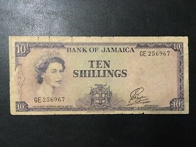 1960 Jamaica Paper Money - 10 Shillings Banknote!
