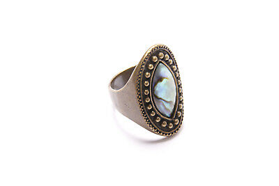 Ladies Antique Boho Style Brass Ring with Oval Front & Beautiful Stone (T332)