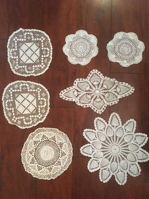 Vintage Hand Crochet Doilies DOILY Centerpiece Lace Lot of 6 NICE!