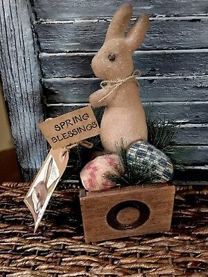 "Primitive Bunny Rabbit Antique Box Eggs Handmade 10"" Easter Shelf Sitter"