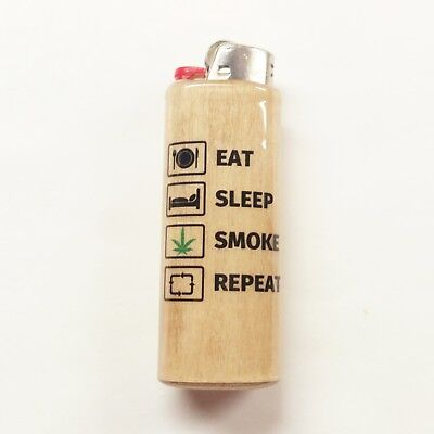 Eat Sleep Smoke Repeat Lighter Case Holder Sleeve Cover Fits Bic Lighters