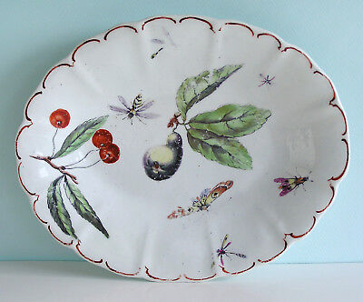 Finely Painted English Chelsea Porcelain Scalloped Dish FRUIT & INSECTS c1760