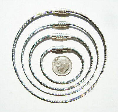 A (5) pack of 4, 6, 8, or 10 Inch Stainless Steel Aviation Cable Style Key Chain
