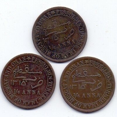 AH1315  Muscat & Oman  1/4 Anna  Lot of 3 Coins