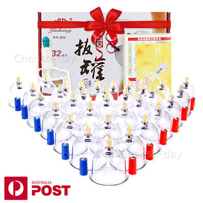 32 Cups Chinese Massage Cupping Set 32 Pain Vacuum Suction Massager Acupuncture
