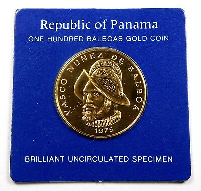 1975 Panama 100 Balboas .900 Gold 500th Anniversary - Birth of Balboa .2361 AGW