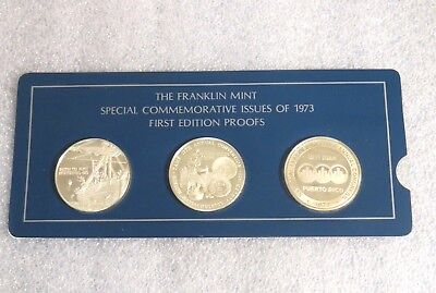Franklin Mint Special Commemorative Issues 1973 First Ed.Silver Proofs 3 Medal