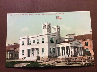 US Navy Yard Mare Island, California Entrance Gate House Antique Postcard 1908