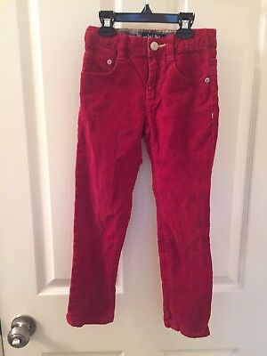 Mini Boden Boys Red Skinny Corduroy Jeans Pants Adjustable Waist Size 6 Years