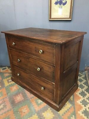 Large Original Edwardian Solid Oak Chest Of Drawers
