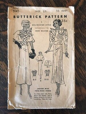 Antique Butterick Sewing Pattern 1923 Art Deco Dress w/ Prominent Bow Cape 5145