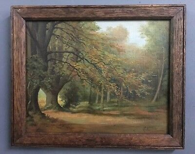 Antique Victorian Oil On Board Painting In Oak Frame, Signed