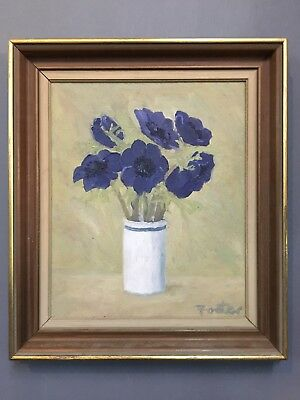 Large Original Mid Century Floral Oil Painting By Denise Foster, Framed
