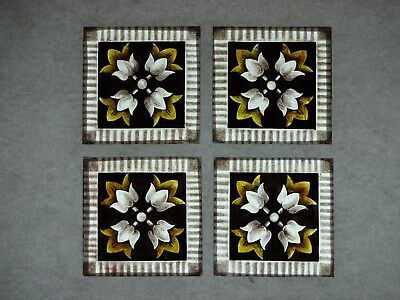 Beautiful Stained glass.FLOWERS.Hand painted.Kiln fired.75x75mm.Antique style.