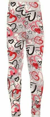 New S/M Kids Girls Toddler Buttery Soft Leggings Gray Pink Valentines Hearts
