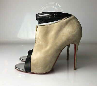 0980219dfca1 Christian Louboutin Diptic 100 Peep Toe Suede Booties Ankle Strap Boots Eu  38.5