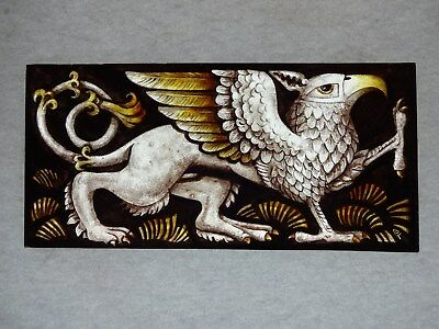 Beautiful Stained glass.GRIFFIN.Hand painted.Kiln fired.210x100mm.Antique style