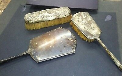 ANTIQUE VICTORIAN F&B FOSTER & BAILEY STERLING SILVER VANITY DRESSER 3pc SET