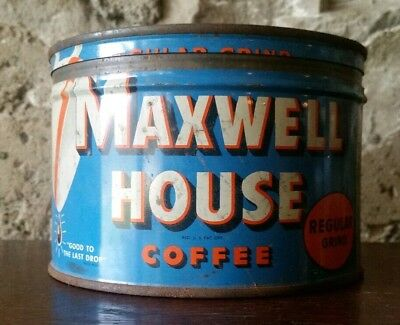 Vintage Maxwell House 1lb. Coffee Can, Pre-1963