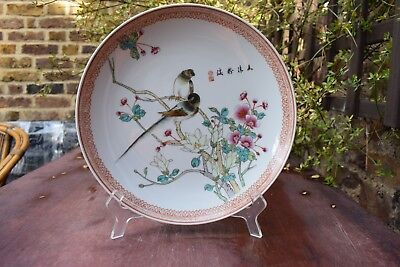 Chinese Famille rose Late Republic Birds plate Calligraphy and Marks