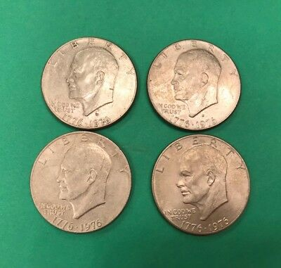 1776-1976 - 2D & 2 P Eisenhower Bicentennial Dollars Lot of 4.