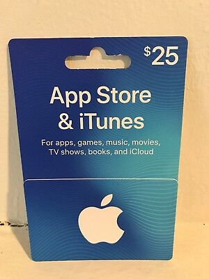 Apple App Store & iTunes $25.00 Gift Card - Brand New