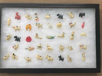 Vintage Lot of 38  Cracker Jack Charms Toys With Display Glass Box