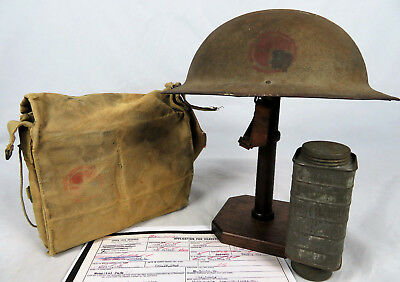 NAMED & INSIGNIA PAINTED 35th DIVISION 128th FA M1917 HELMET & GAS MASK GROUPING