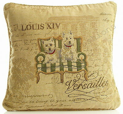 "Versailles Scotty Dog Tapestry 18"" Cushion Cover Retro Vintage Print BNWT"