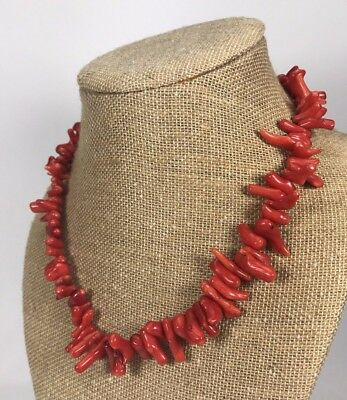 "Vintage Hand Strung Natural Red Branch Coral Necklace Choker-17.5"" Long"