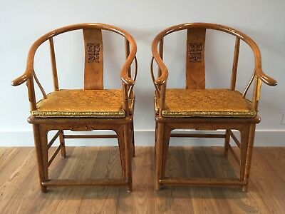 Stunning Pair of Ming Style Antique Chinese Horseshoe Backed Armchairs