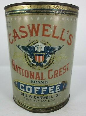 """Caswell's National Crest Coffee Eagle Shield Tin Can 2.5lbs San Francisco 7.25"""""""