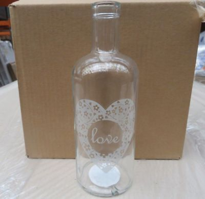 Wholesale Job  48 X Brand New 'love' Clear Glass Vases Rrp 6.99,,