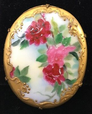 Antique Vintage Victorian Hand Painted Porcelain Pin Brooch Red Roses C Clasp VG