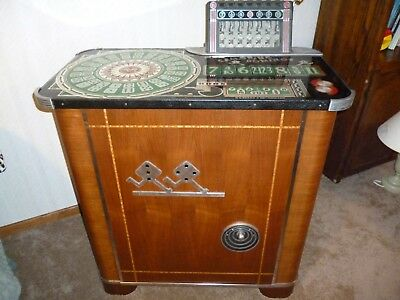 1939 Evans Galloping Dominoes Console Slot Machine Complete