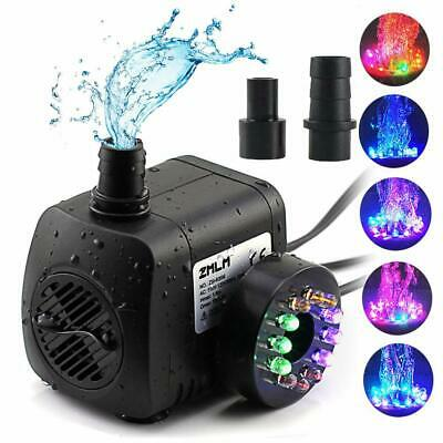 Water Fountain Pump with LED Light Silent Small Submersible for Fish Tank