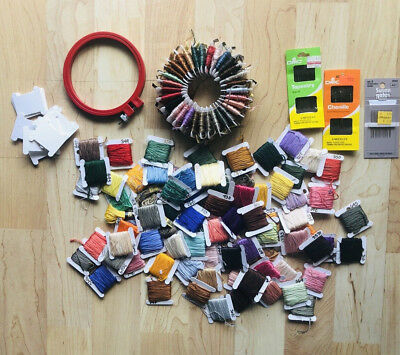 Cross Stitch Embroidery Thread Lot 100+ Skeins Plus Ring Needles Labeled