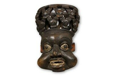 """Hand Carved Bamun African Mask 19.5""""- Cameroon"""