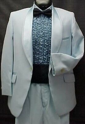 LIGHT BABY BLUE TUX JACKET or 4pc RETRO LORD WEST TUXEDO VINTAGE MENS PROM