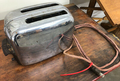Vintage Toastmaster Toaster Automatic Pop Up Chrome Fabric Cord model 1B14