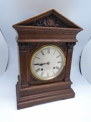 W and H Ting Tang Wooden Vintage Mantle Clock with Key
