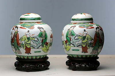 Pair of Antique Porcelains  Chinese Famille Verte Ginger Jars