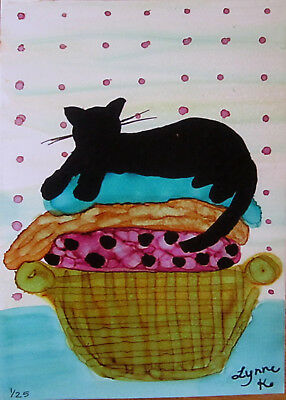 "Giclee Print 5x7"" polka dots black cat laundry limited edition by Lynne Kohler"