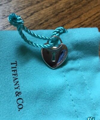 Authentic Tiffany & Co. Medium Heart Lock Pendant Padlock Solid Sterling Silver