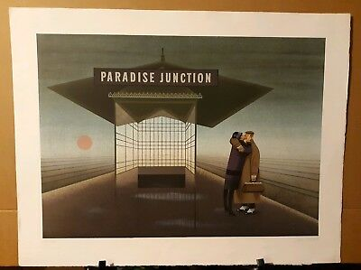 """Signed, Limited Edition, Lithograph Print """"Paradise Junction 1987"""" By Jan Balet"""