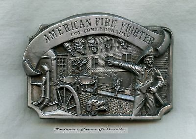 Excellent 1987 Pewter Limited Edition American Firefighter Belt Buckle