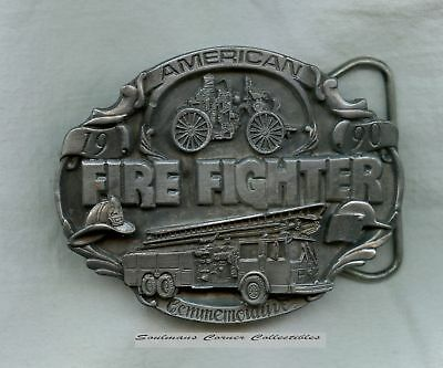 Excellent 1990 Pewter Limited Edition American Firefighter Belt Buckle