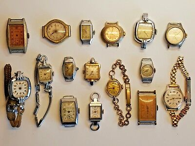 Collection 16 x vintage wind up watches non working parts Art Deco 1920's watch
