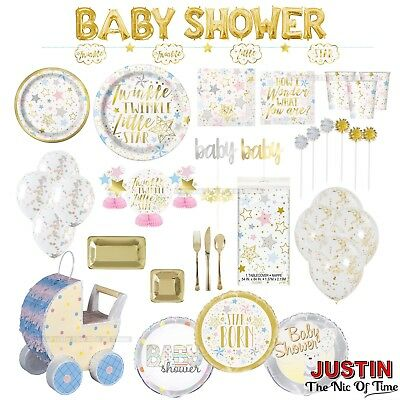 Baby Shower Party Supplies GENDER REVEAL Boys Girl Unisex Tableware Decorations