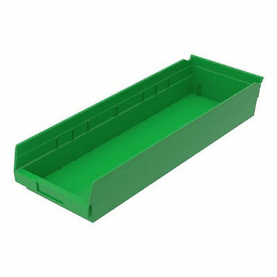"Plastic Shelf Bin Nestable, 8-3/8""W x 23-5/8""D x 4""H Green, Lot of 6"
